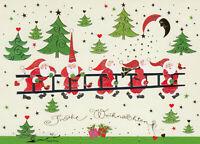 Postkarte: Frohe Weihnachten - Weihnachtsmänner mit Leiter - mit Glitzer