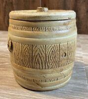 VINTAGE Ceramic Barrel Shaped Tobacco Jar Humidor