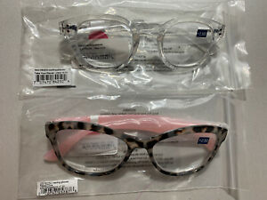 Peepers- Pebbles Cove Grey Tortoise & Pink & Clear Reading Glasses +2.50 2 Pair