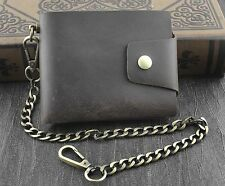 Mens Biker Vintage Leather Card Money Holder Snap Wallet Purse W/ Brass Chain B7