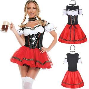 Women's Oktoberfest Beer Maid Costume German Bavarian Dirndl Dress cosplay Dress