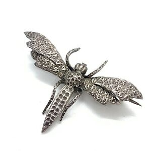 Antique Victorian Sterling Silver Moth Butterfly Brooch #202