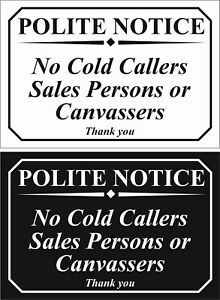 NO COLD CALLERS OR SALES PERSONS - window/door self adhesive sticker or sign