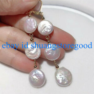 Real 12-13mm White Baroque Coin Pearl Dangle Earrings AAA++