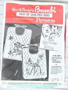 Vintage Paragon Baby Bib Embroidery Kit Walt Disney/'s Bambi Quilted Bib Kit Set of 2 Stamped Bibs Bambi and Thumper