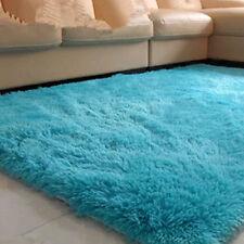 Fluffy Rugs Anti-Skid Home Dining Bedroom Carpet Rectangle Floor Mat Blue