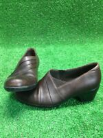 CLARK BENDABLES BROWN LEATHER WOMENS SIZE 7 MEDIUM HEEL SLIP ONS Mules Clogs