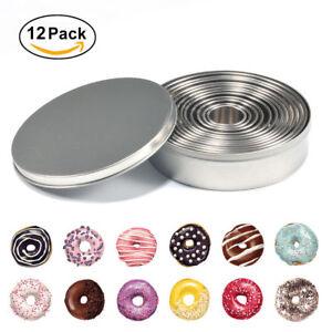12pcs/set Round Cookie Biscuit Cutter Circle Pastry Baking Cake Metal Ring Mold