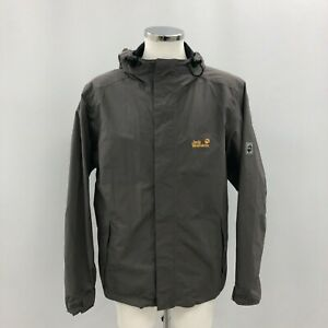 Jack Wolfskin Raincoat Mens Size 44 Grey Hooded Logo Casual Outdoor 251226