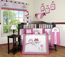 Girls Crib Bedding Pink Owl Flowers 13 Piece Set Baby Infant Toddler Quilt NEW