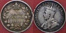 Fine 1911 Canada Silver 5 Cents