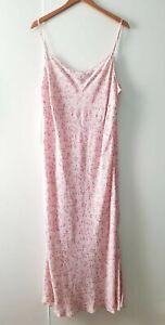 True Vintage BHS Pink Ditsy Floral Strappy Slip Dress Y2K UK Size 20 Midi