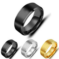 Women Men Simple Titanium Stainless Steel Ring Jewellery 8mm Double Bevel