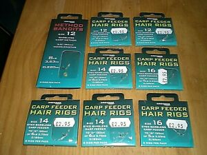 X8 DRENNAN CARP FEEDER - HAIR RIGS + METHOD BANDITS X8 - ASSORTED - BRAND NEW