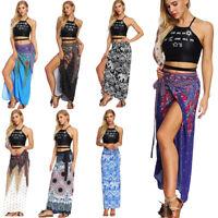 Women Wrap Skirt Africa Dashiki Boho High Waist Long Maxi Tie Up Skirt Free Size