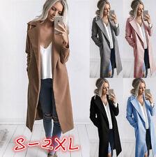 Plus Size Women Winter Warm Lapel Long Trench Coat Parka Jacket Overcoat Outwear