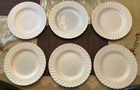 SHEFFIELD BONE WHITE SWIRL DESIGN USA DINNER PLATES - SIX