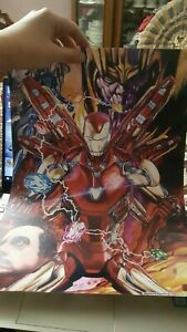 LIMITED EDITION NUMBERED AVENGERS THANOS IRON MAN HAND DRAWN POSTER A3 IN TUBE