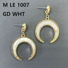 Horseshoe Shape Drop Dangle Post Earrings Gold Finished White Mother of Pearl