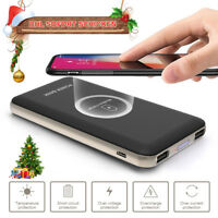 100000mAh Power Bank  2 In 1 Qi Wireless Charging 2USB Portable Battery Charger