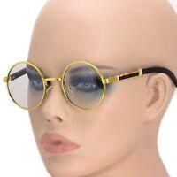 Men's Round CLASSY SOPHISTICATED Clear Lens EYE GLASSES Wooden Print Gold Frame
