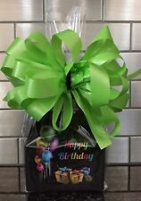 Happy Birthday Balloon Candy Gift Box-Basket Wrapped With Green  Bow & Card