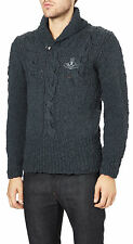 VIVIENNE WESTWOOD MAN BLUE CHUNKY KNIT JUMPER MADE IN ITALY RETAIL £385 SIZE M