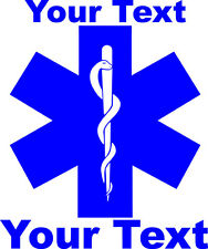 "Personalized 9"" x 7"" EMS EMT Star Of Life Decal"