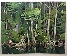 A.J. CASSON group of seven BLUE HERON art print certificate included