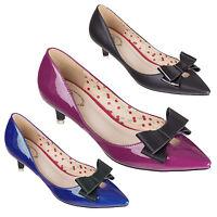 Banned Belle Patent Vintage 1950s Rockabilly Vintage Glam Kitten Heel Shoes UK