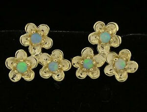 E067- Beautiful Genuine 9ct Yellow Gold Natural Solid Opal Blossom Stud Earrings