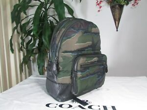 NWT Coach Mens West Camo Print Quilted Nylon&Leather Backpack F31319 Green Multi