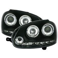 VW GOLF MK5 2003-2009 BLACK ANGEL EYE HALO PROJECTOR HEADLIGHTS HEADLAMPS PAIR