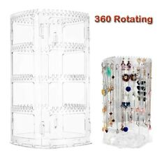 360 Rotating Earring Necklace Display Stand Acrylic Holder Storage RackOrganizer
