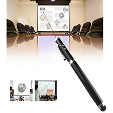 BLACK 4 in1 Laser Pointer LED Torcia Touch Screen Penna a sfera iPhone iPad
