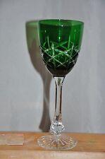 Ajka Hungary Emerald Criss-Cross Cut To Clear Crystal Wine Goblet Glass Stemware