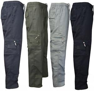 Mens Elasticated Waist Cargo Combat Work Trousers Cotton Casual Bottoms Pants