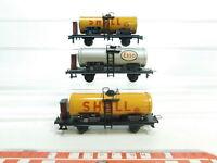 BI899-0,5# 3x Trix Express H0/DC Blech-Kesselwagen DB: Shell 922 572 + Esso