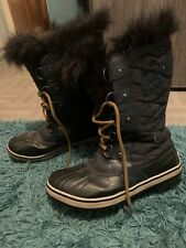 Sorel Ladies Winter Waterproof Tofino Navy Black Boots Size 7