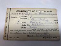 Voter Registration ID Card Vintage 1948 Ephrata, Lancaster County Pa.