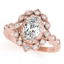 Diamond Engagement Ring 14k Pink Gold Forever One Oval Moissanite Swing Halo
