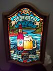 Vintage Old Style beer lighted sign welcome faux stained glass