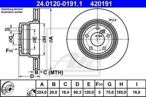 BRAKE DISCS (X2) FITS REAR BMW X5 E53 324mm ATE 24.0120-0191.1