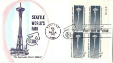 1962 Seattle World's Fair SPACE NEEDLE First Day Cover Local Cachet Plate Block