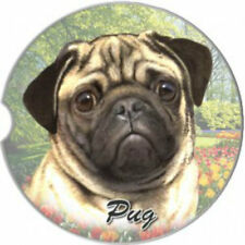 E&S Pets Absorbent Car Coaster Dog Breed Stoneware Pug Fawn Tan Blonde Buff
