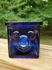 Disney Cobalt Blue Glass Candle Holder 3D Mickey Mouse Face Votive Tealight