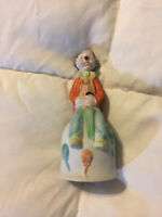 VINTAGE FLAMBRO HOBO CLOWN WITH UMBRELLA BELL PORCELAIN FIGURE