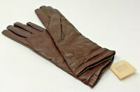 """Bonwit Teller Ladies Gloves New Size 6 Brown Cashmere Lined Leather 11"""" 19-1402E"""