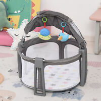 Baby Cot 2 In 1 Activity Gym Playmat Crib w/ Mattress Hanging Toys Mosquito Net