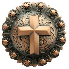 "Western Equestrian Tack Antique Copper Cross 2 1/4"" Concho"